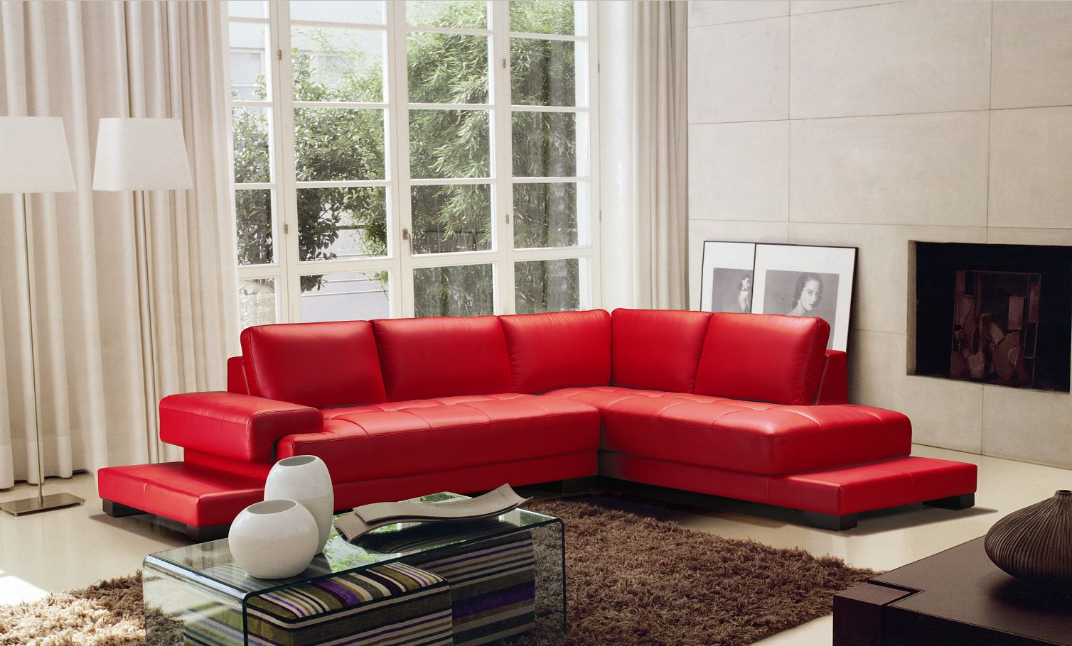 2226 Red Sofa Set Black Design Co