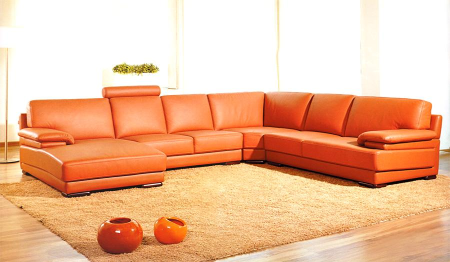 2227 Orange Contemporary Orange Sectional Sofa Black Design Co