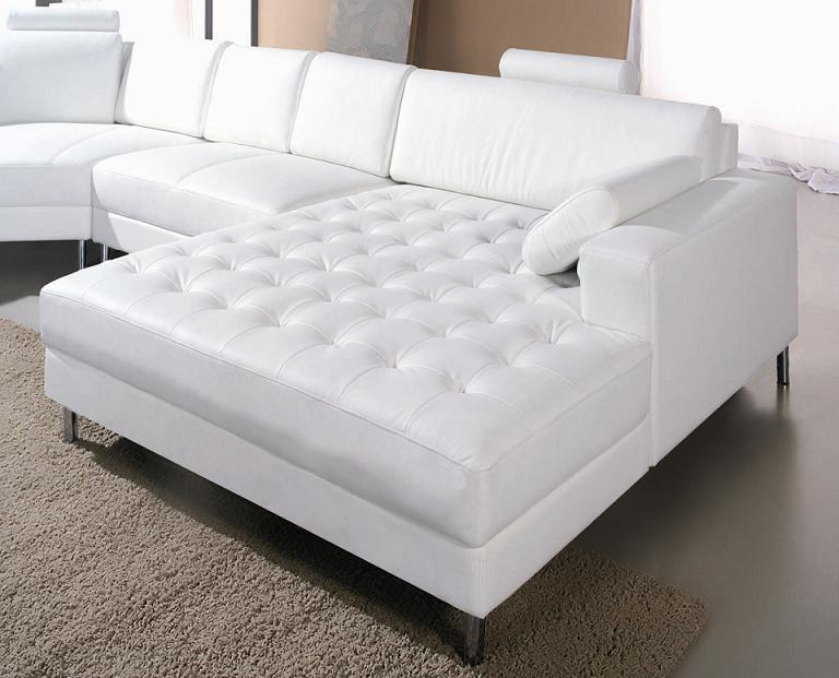 Monaco White Leather Sectional Sofa 2236 Black Design Co