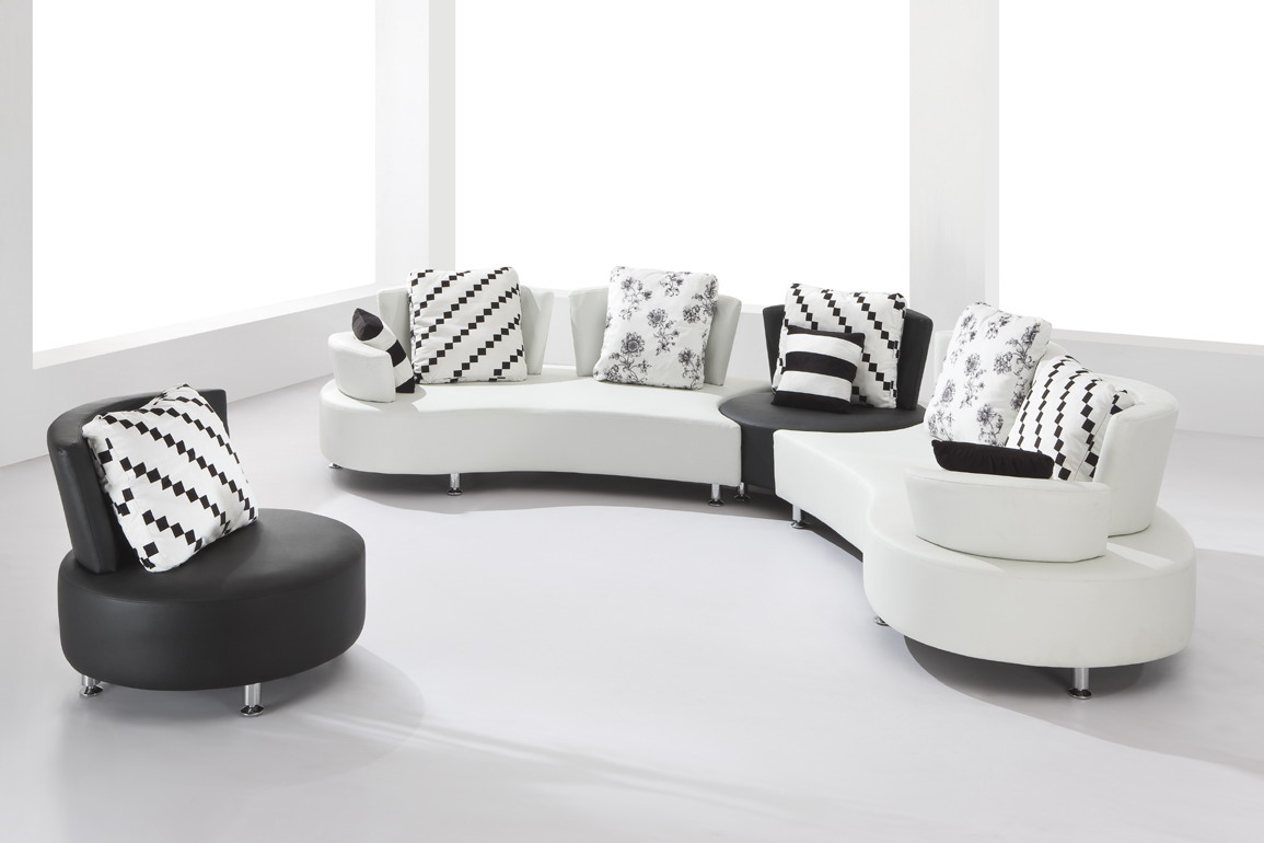 2803 Sectional Sofa Set With A Round Chair Black Design Co