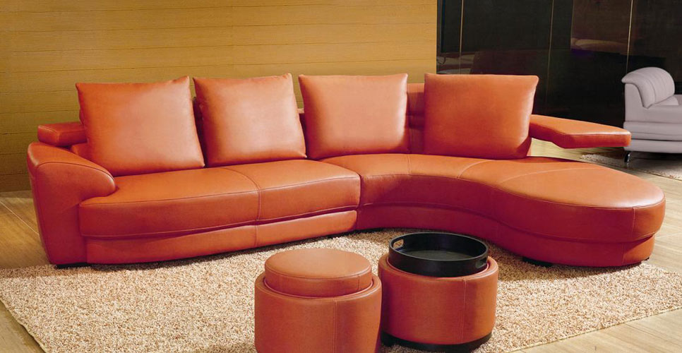 Ev 3338 Contemporary Sectional Sofa In Orange Color