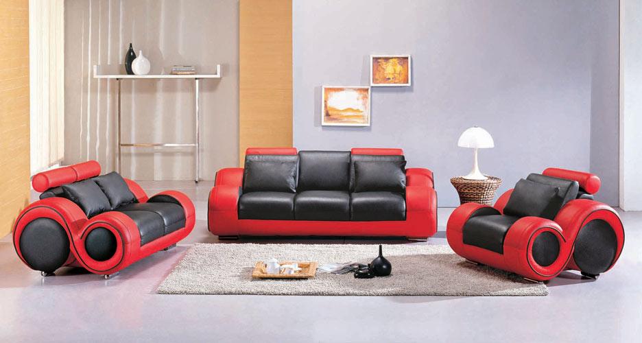 4088 – Contemporary black and red sofa set   Black Design Co