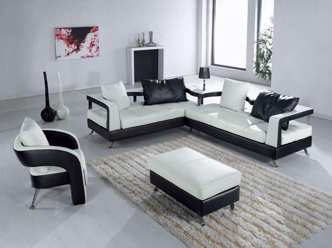 EV 5577 Contemporary Leather Living Room Furniture Black Design Co