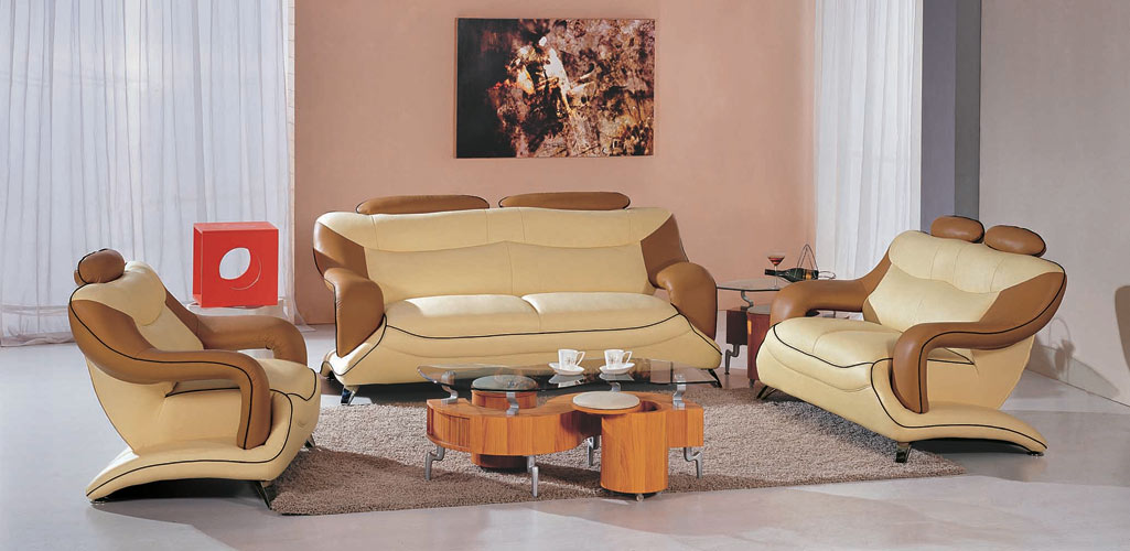 7055 Modern Beige And Brown Leather Living Room Set ...