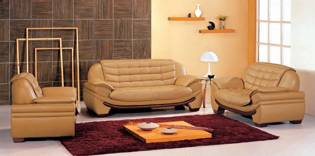 Black Design Co: 7174 Contemporary Camel Leather Living Room Set