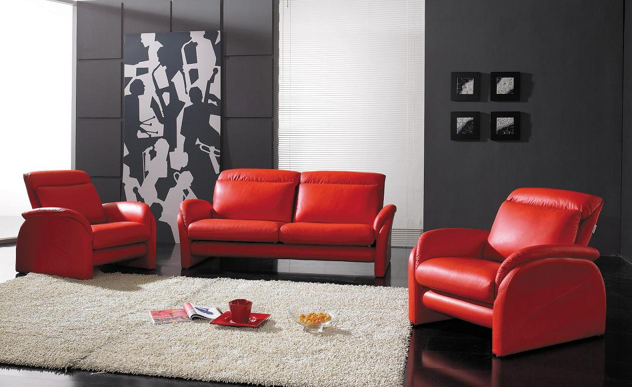 contemporary full leather red sofa set 44l2540 red. cabot red ...