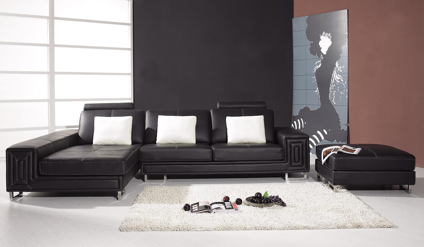 Black Design Co: T957 – Modern Black Leather Sectional Sofa