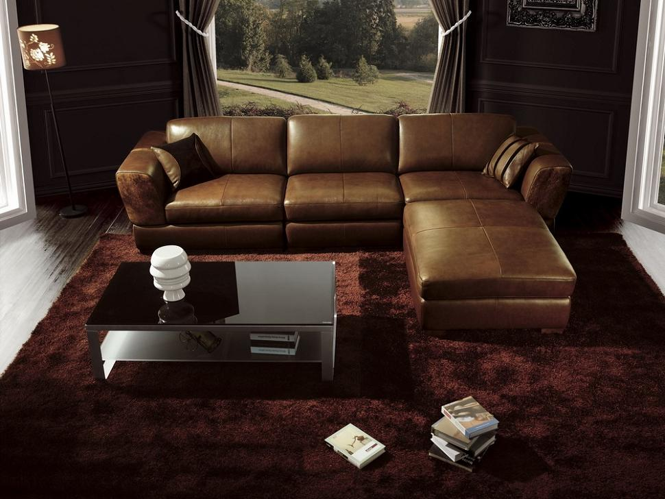 Bo3960 contemporary brown leather living room furniture for Brown living room furniture