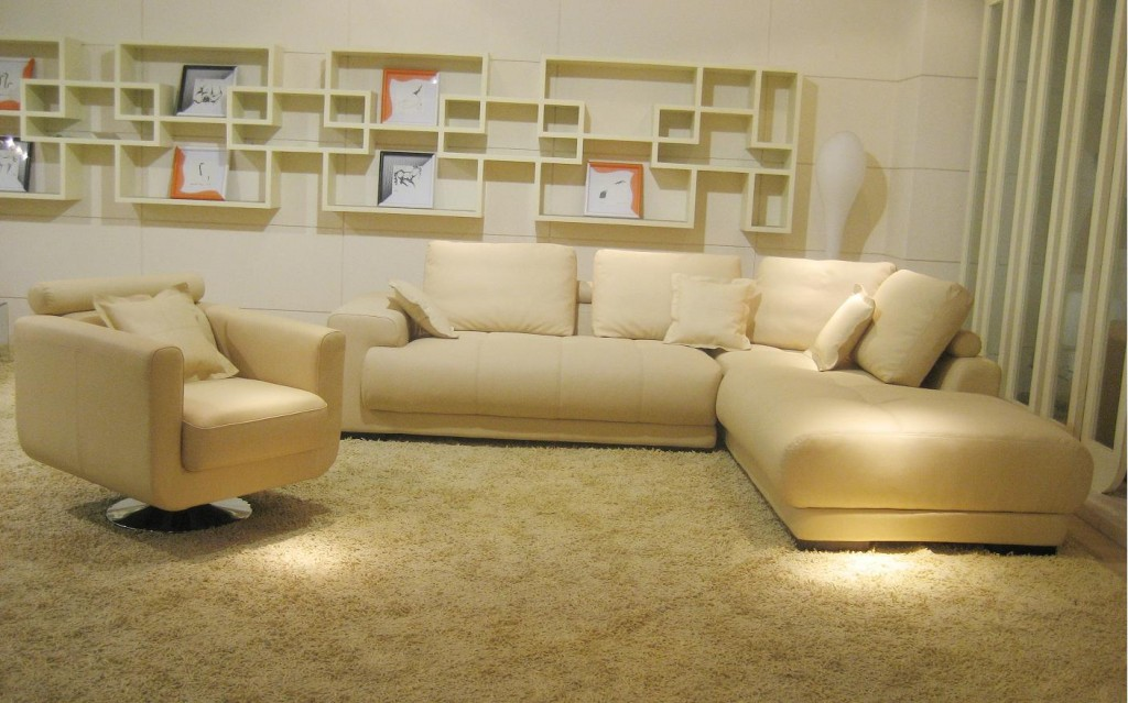 Bo3871 Modern Beige Leather Sectional Sofa Black Design Co