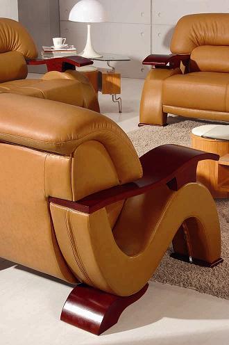 2033 Modern Camel Leather Living Room Set Black Design Co