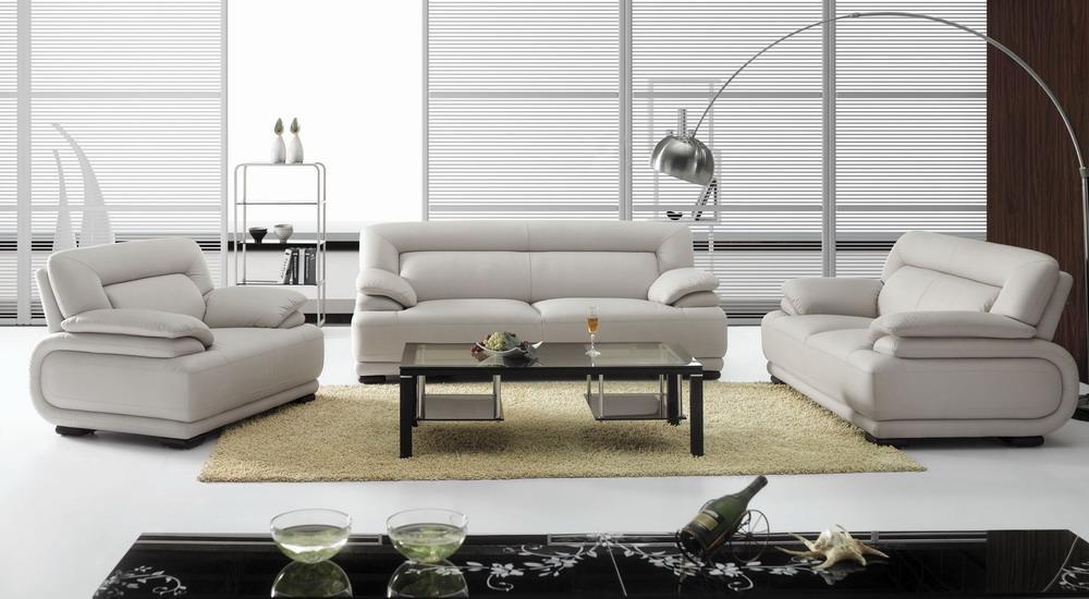 Bo3929b modern white leather sofa set black design co for Gray leather sofa set