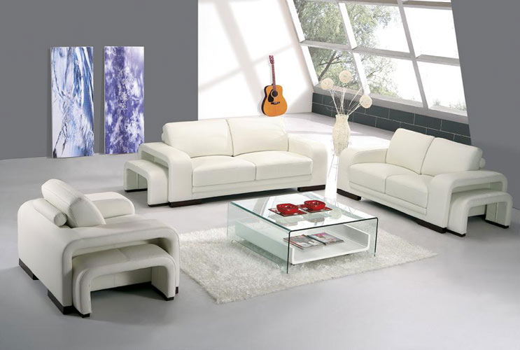 A 32 Modern white leather living room furniture | Black ...