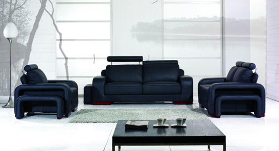 Modern Black Leather Sofa Set 924 x 500