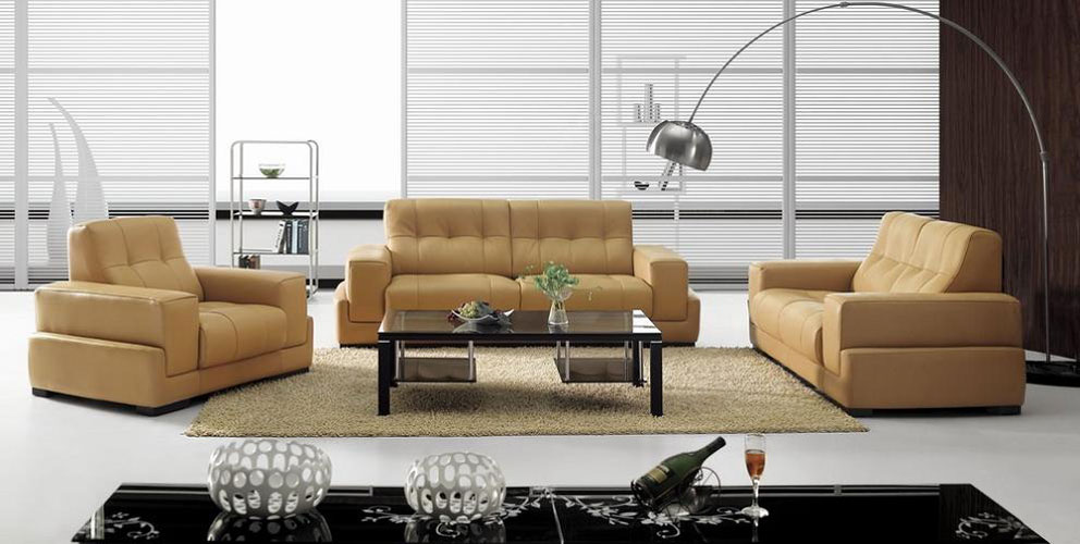 BO3911 Modern Light Brown Leather Sofa Set | Black Design Co