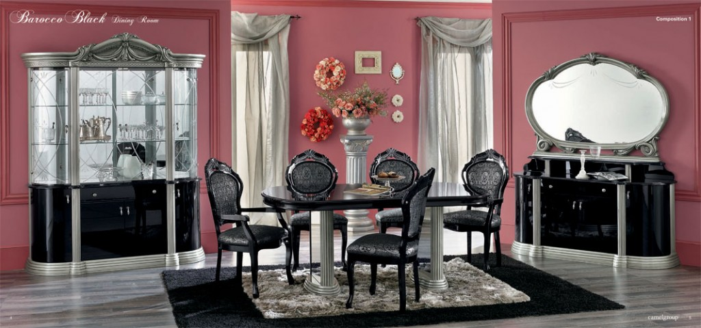 Barocco Black Traditional Dining Set Part 50