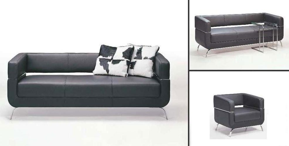 F51 Contemporary Black Leather Sofa Set
