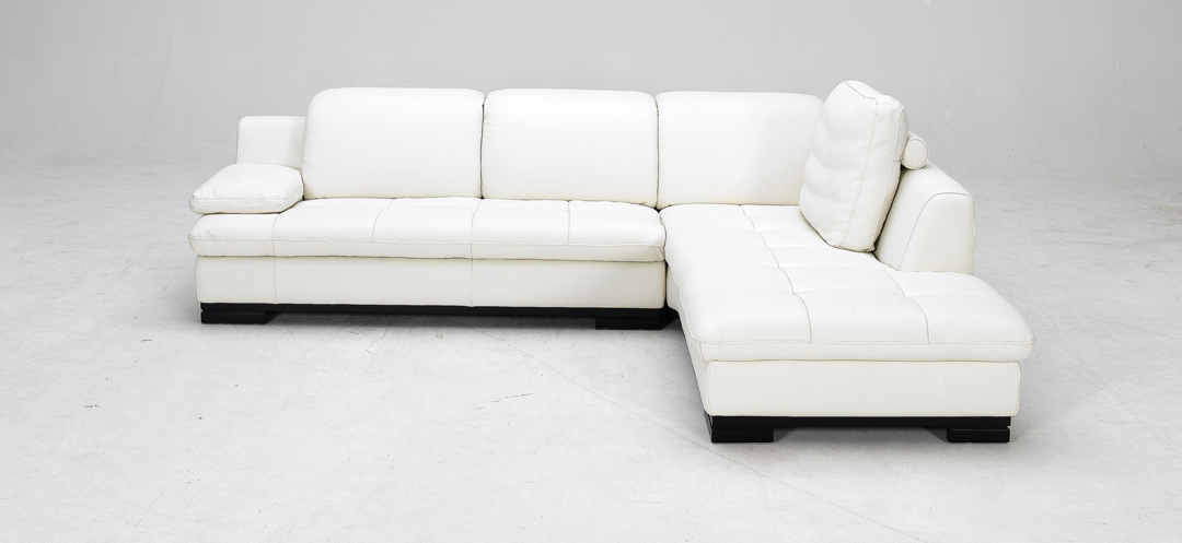 white full top grain leather sectional sofa