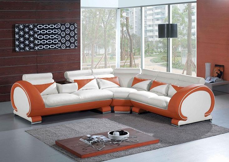 7392 Orange Amp White Sectional Sofa Set Black Design Co