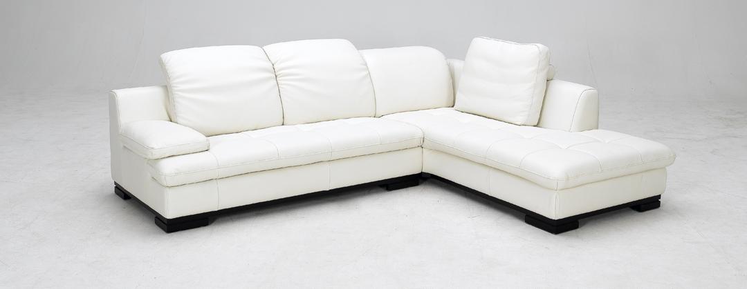 1052 White Full Top Grain Leather Sectional Sofa Black