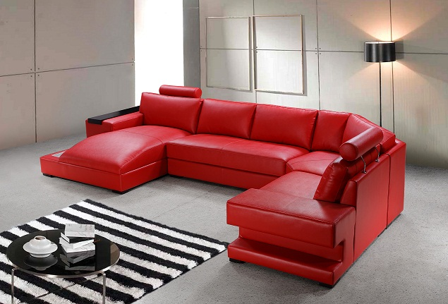 Orion Red Bonded Leather Sectional Sofa Set Black