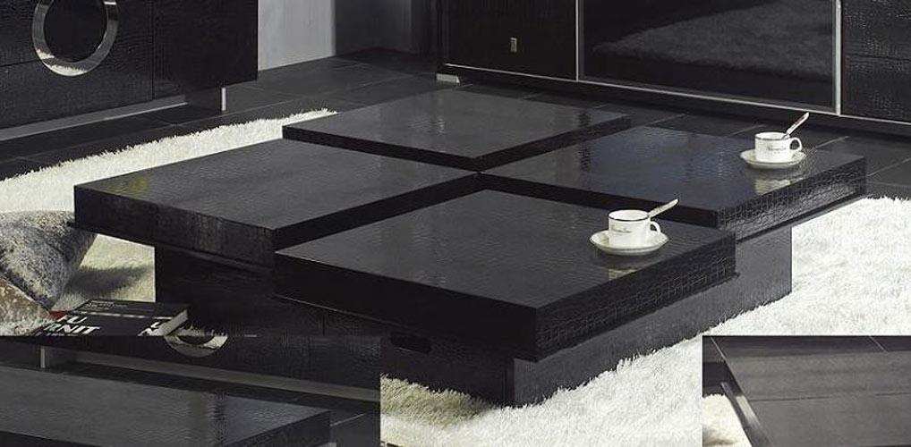 Modern Crocodile White Coffee Table 8879a Black Design Co