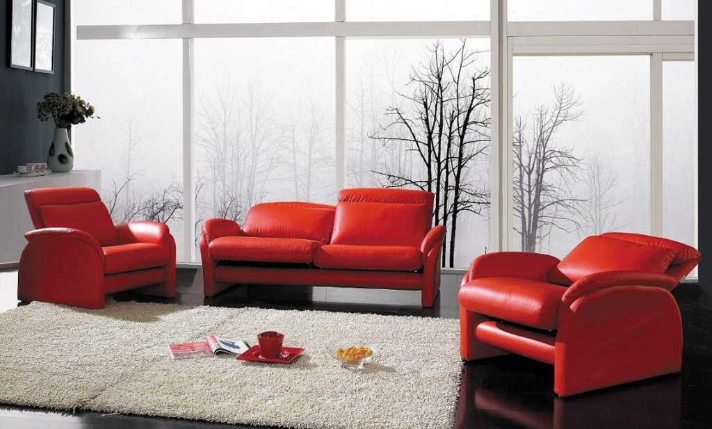 Yil 926 Modern Red Leather Sofa Set Black Design Co