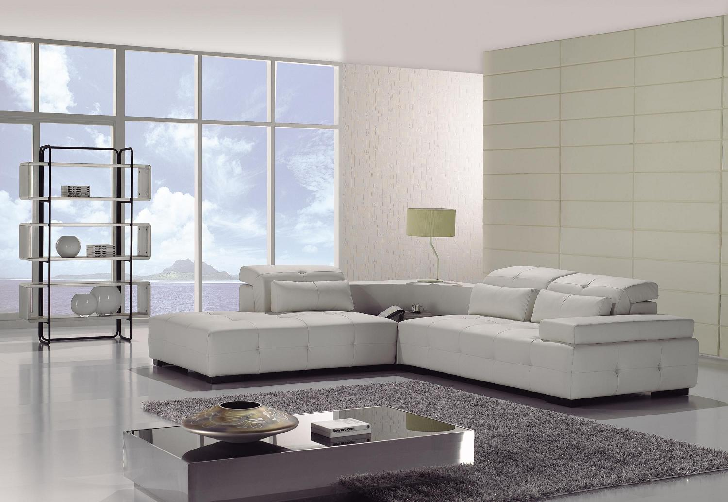 T90 Modern white leather sectional sofa   Black Design Co