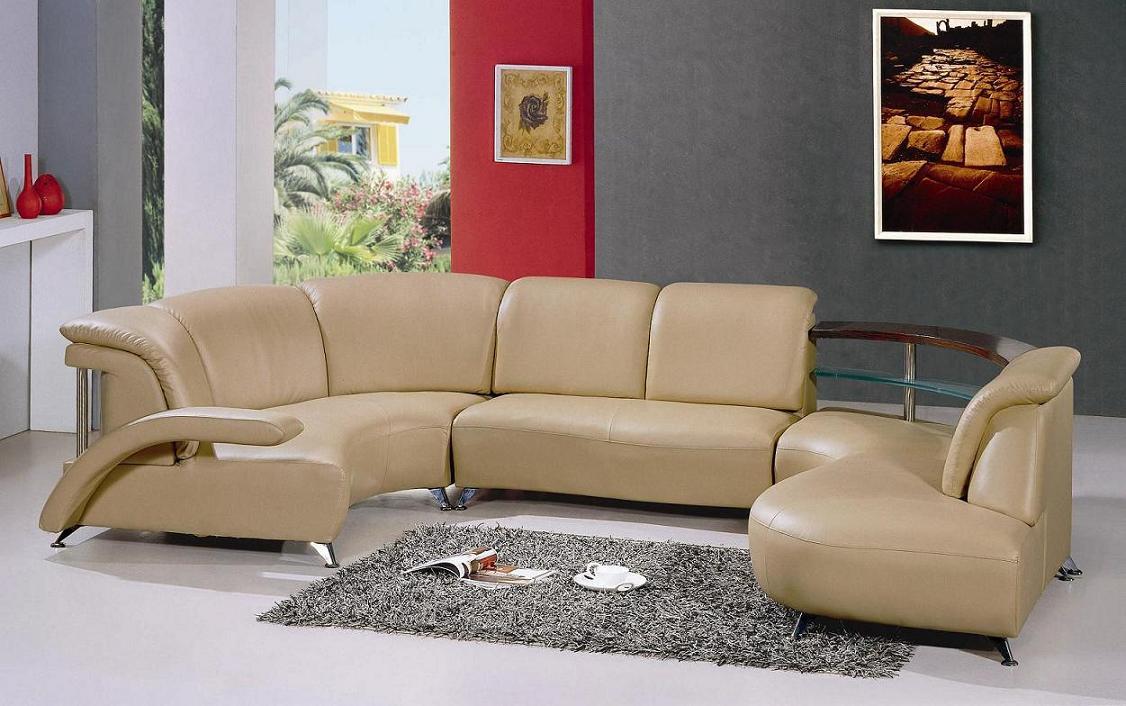Black Design Co: Modern White Leather Sectional Sofa 104