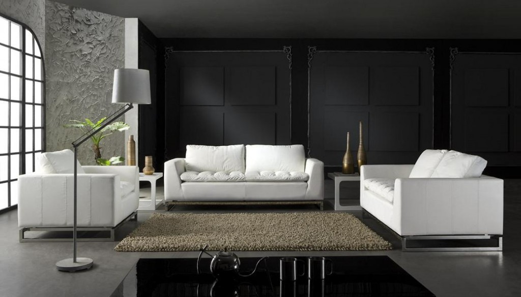 Manhattan Modern White Leather Sofa Set | Black Design Co
