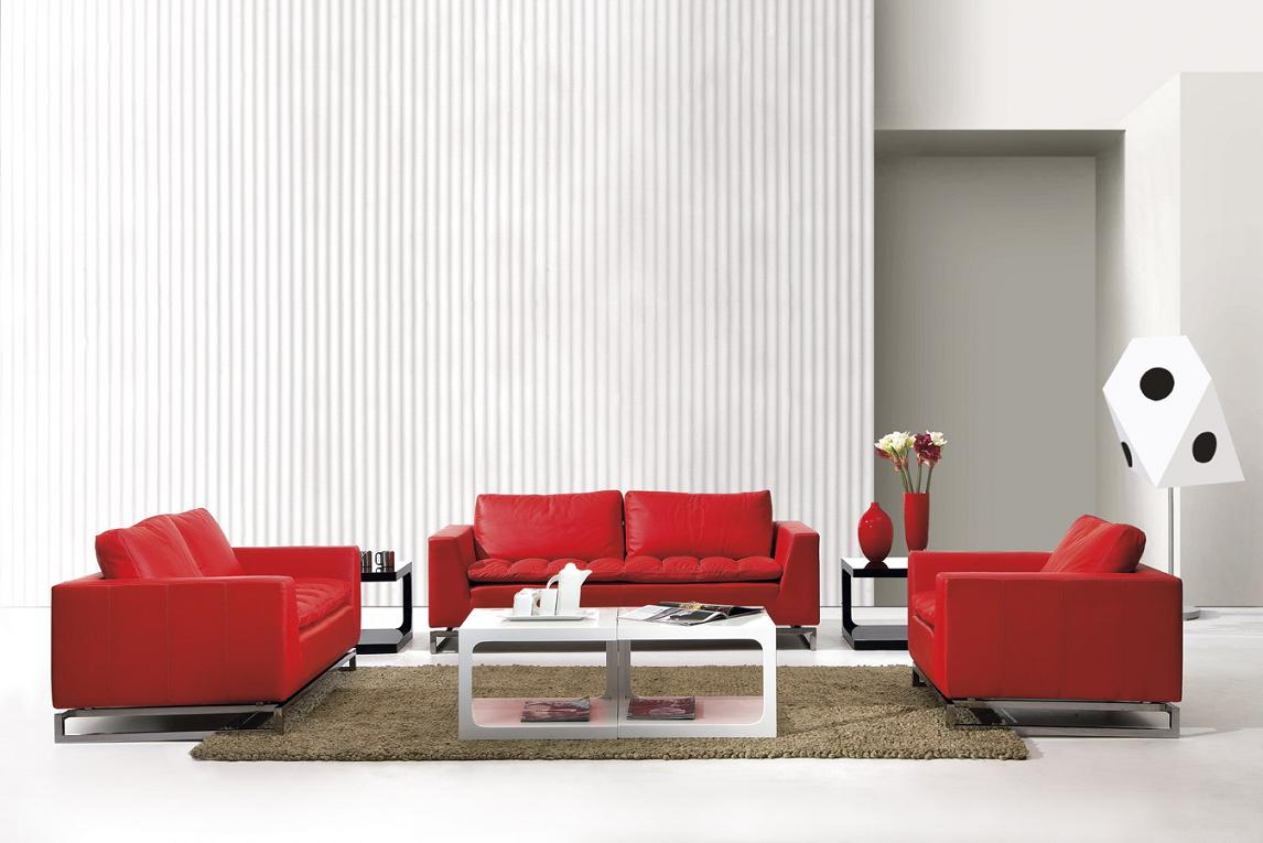 Manhattan Modern Red Leather Sofa Set Black Design Co ~ Modern Leather Sofa Sets