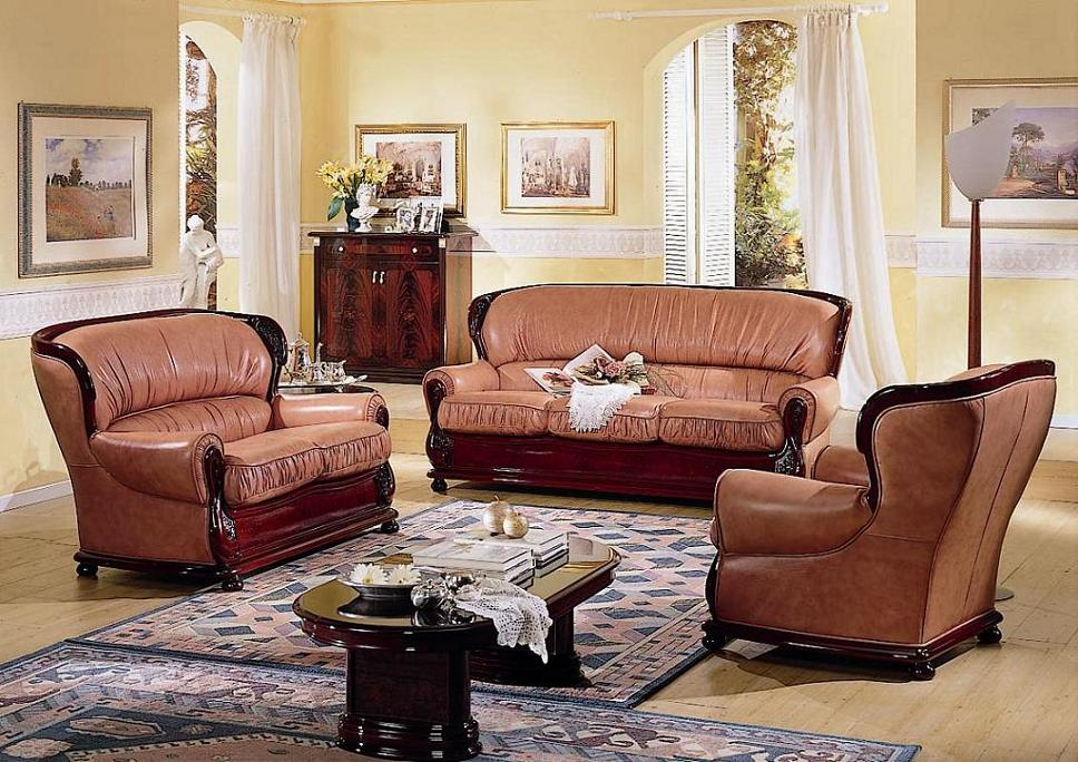 traditional italian sofa set is made with full top grain italian