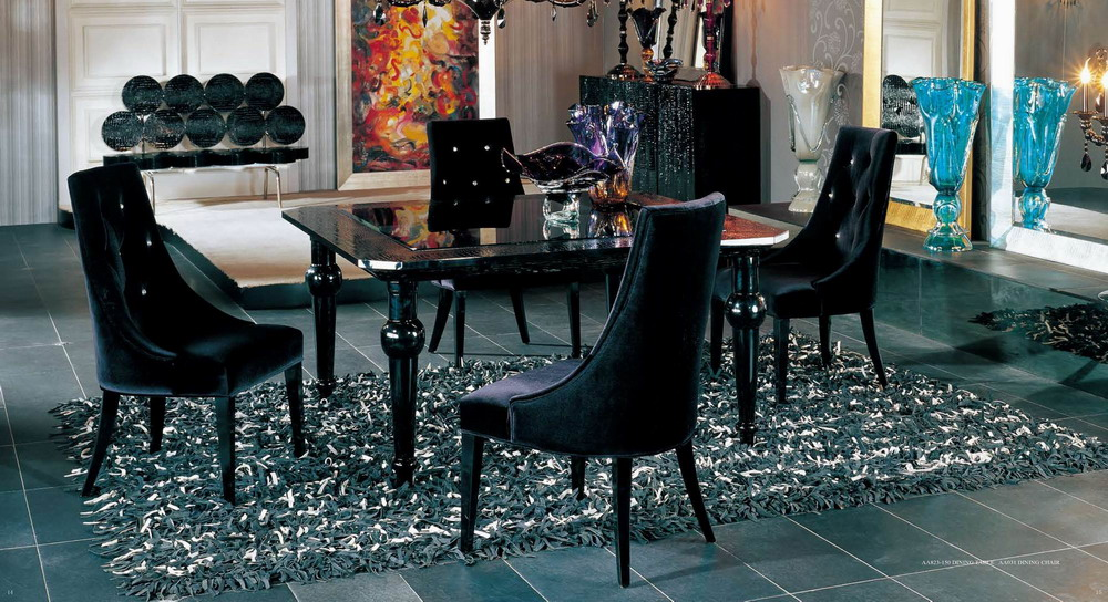 Aa031 Black Velour Dining Chair Armani Xavira Collection