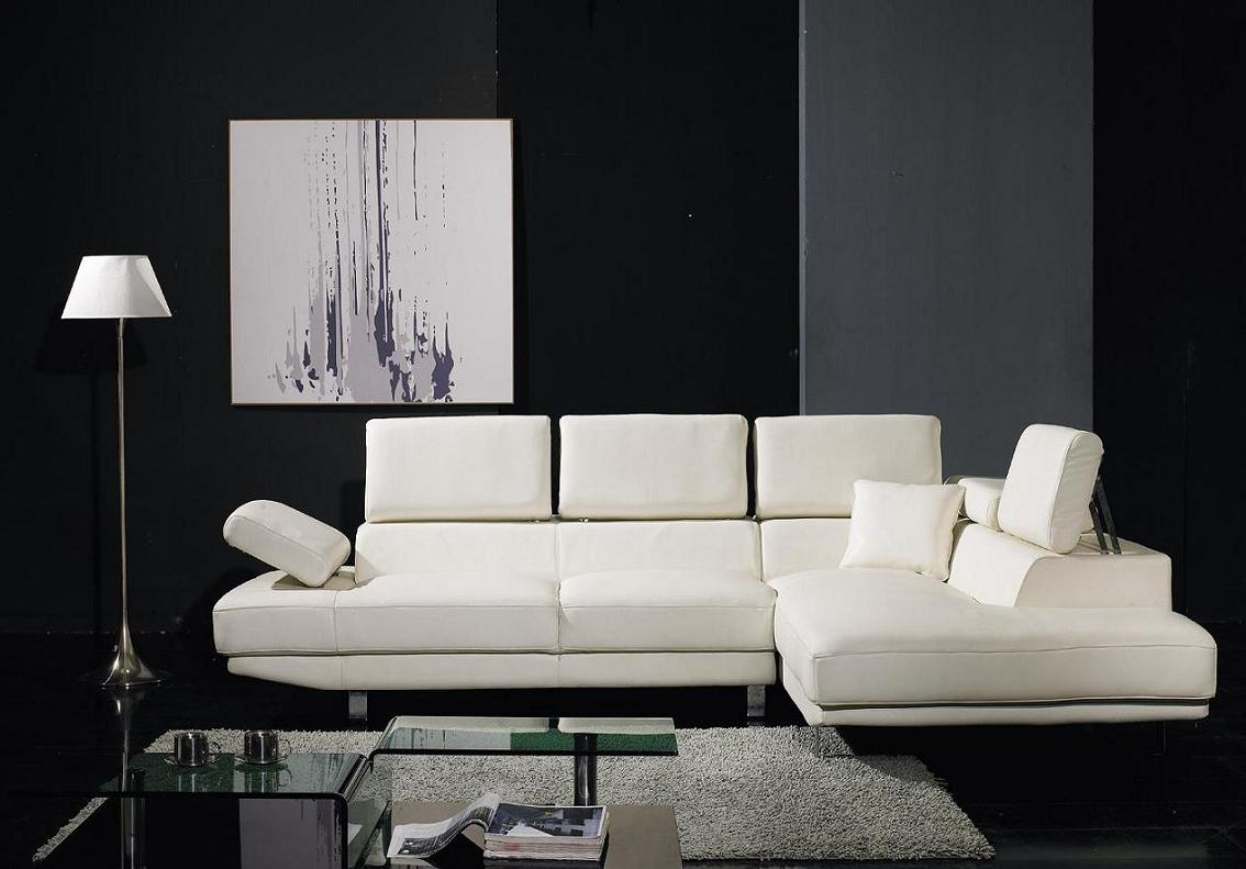 T60 White Bonded Leather Sectional Sofa Set Black