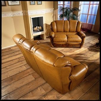 Capri Italian Traditional Leather Sofa Set Black Design Co