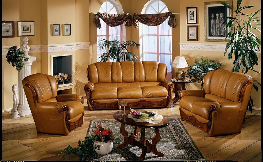 Black Design Co: Capri Italian Traditional Leather Sofa Set