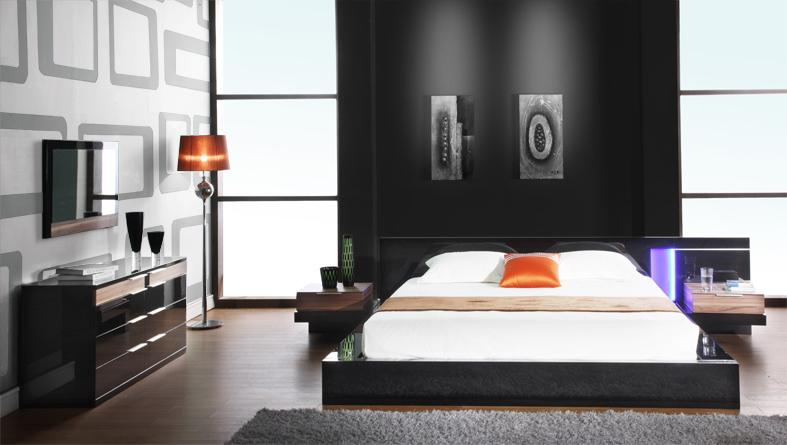 Black Design Co: Alaska Night Modern Black Lacquer Bed