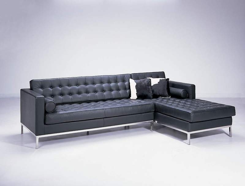 F14 Modern Leather Sofa Set Black Design Co