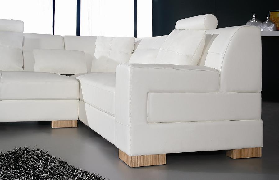 Florence Modern White Leather Sectional Sofa Black Design Co