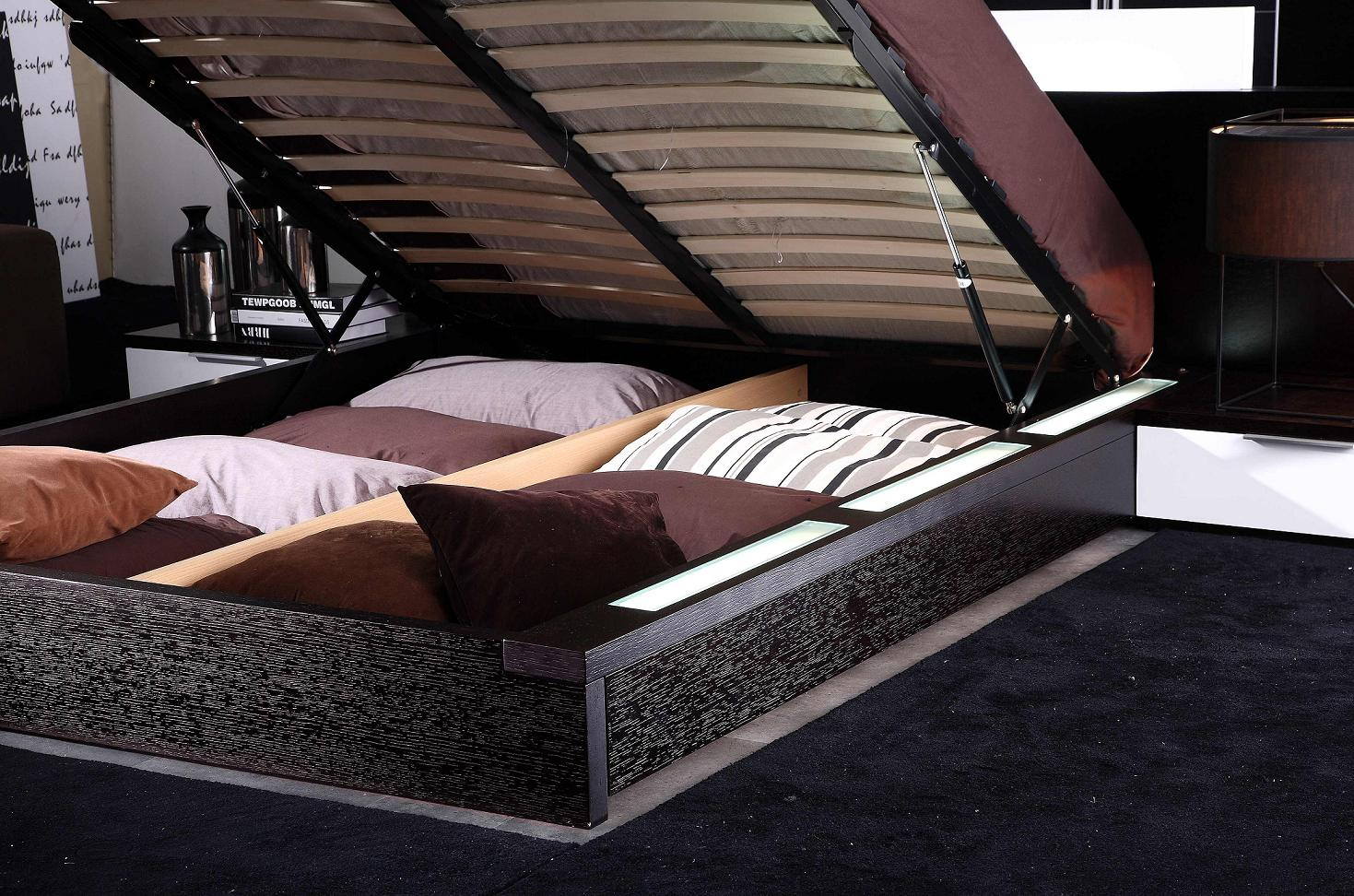 Bed designs with storage - Gamma Modern Platform Bed With Airlift Storage