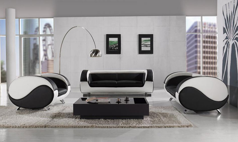 Harmony modern living room furniture black design co for Black and white living room set