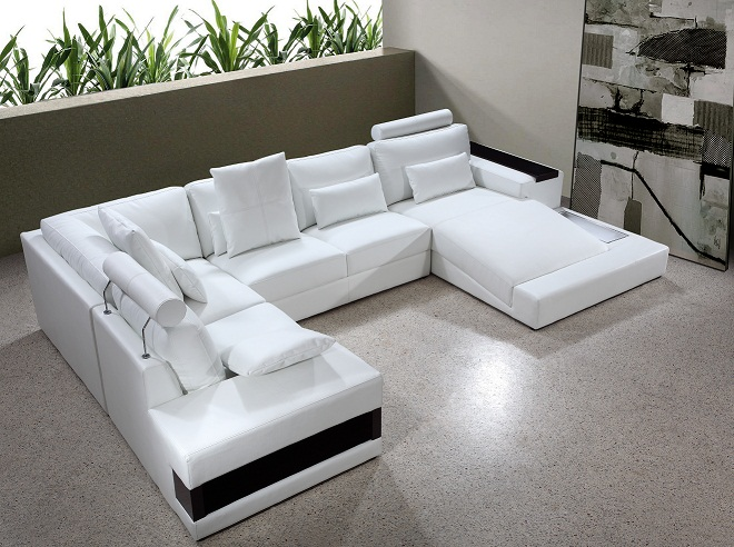 White Bonded Leather Sectional Sofa Set With