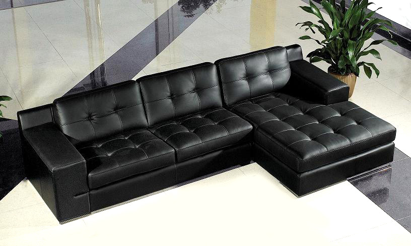 Jade Modern Black Leather Sectional Sofa | Black Design Co