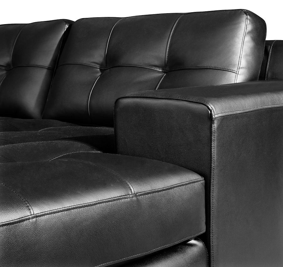 Jade Modern Black Leather Sectional Sofa