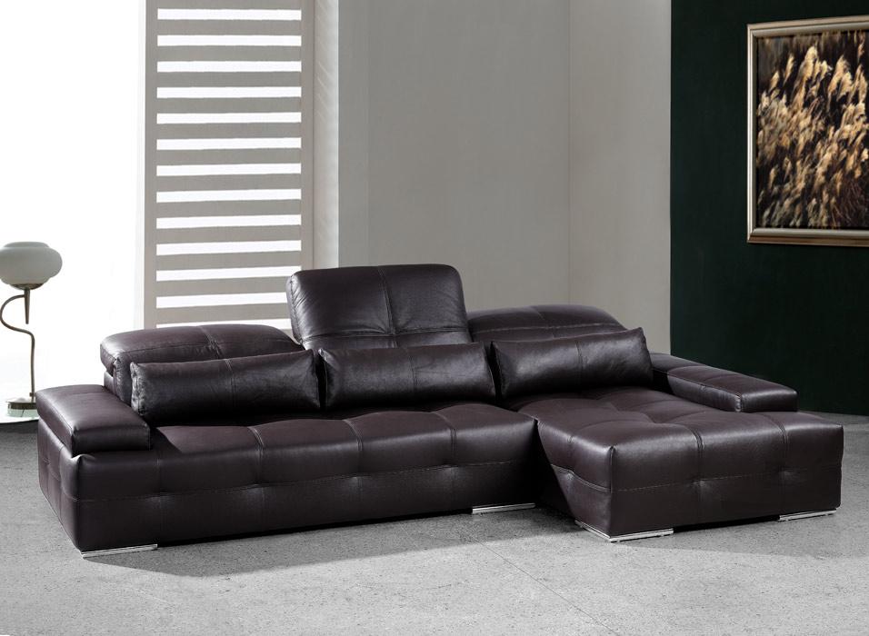 Sorrento Modern Chocolate Brown Sectional Sofa Black