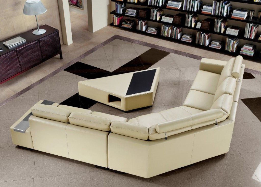 Madrid Taupe Beige Ultra Modern Living Room Furniture 3: Beige Bonded Leather Sectional Sofa With Coffee