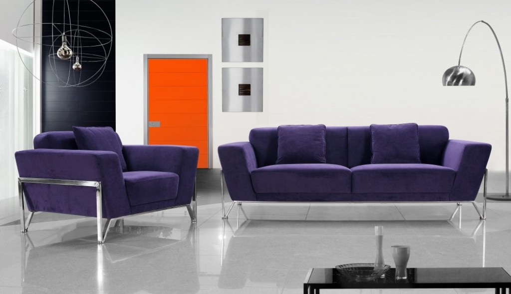 Vogue Microfiber Purple Sofa Set Black Design Co