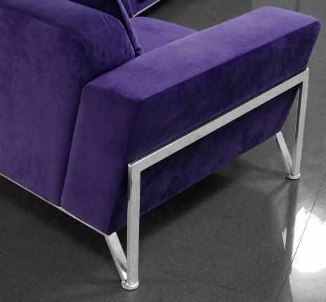Vogue Microfiber Purple Sofa Set Black Design Co