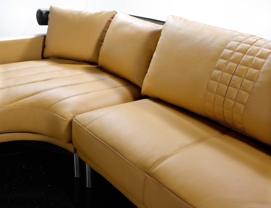 Jupiter Mustard Leather Sectional Sofa Black Design Co
