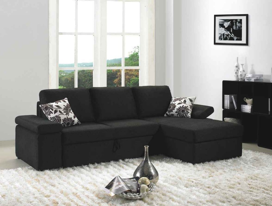 Mb1000 black fabric sectional sofa set with bed black for Black fabric couches