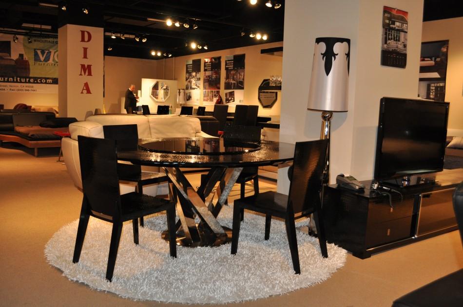 Black Design Co: Round Black Crocodile Lacquer Table W Lazy